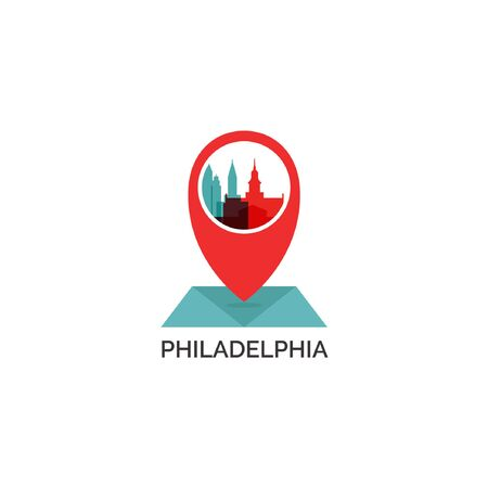United States of America Philadelphia map city pin point geolocation modern skyline shape pointer vector flat web icon illustration.