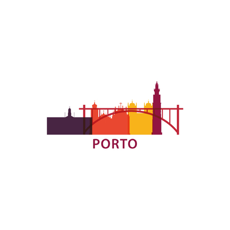 Portugal Porto city panorama skyline shape view landscape flat vector icon logo illustration