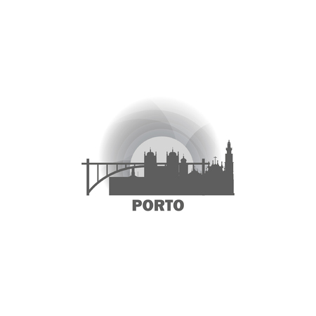 Portugal Porto city panorama night skyline shape view landscape flat vector logo illustration