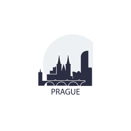 Czech Republic Capital city Prague landscape panorama silhouette shape vector logo icon
