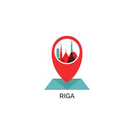Latvia Riga map city pin point geolocation modern skyline shape pointer vector flat logo web icon illustration Illustration