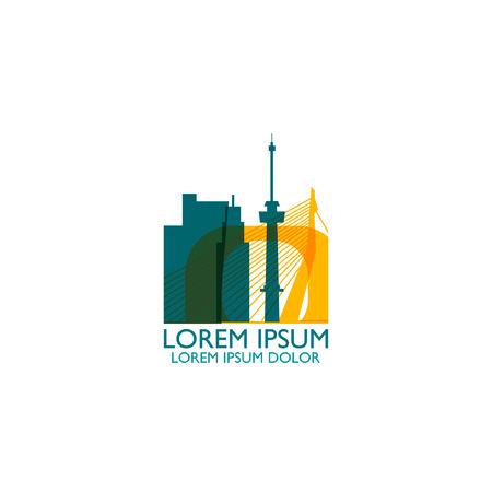Netherlands Rotterdam city modern panorama landmark silhouette shape vector icon logo