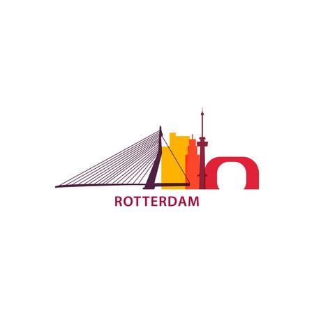 Netherlands Rotterdam city modern panorama landmark silhouette shape vector banner logo