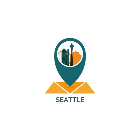 USA United States of America Seattle map city pin point geolocation modern skyline shape pointer vector flat logo web icon illustration