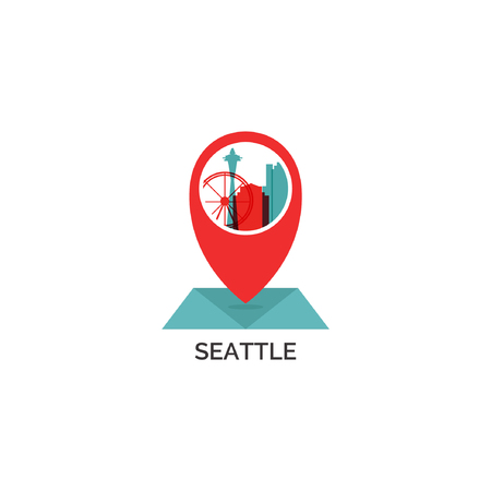 USA United States of America Seattle map city pin point geolocation modern skyline shape pointer vector flat logo web icon illustration