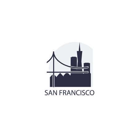 USA San Francisco city landscape skyline panorama silhouette shape vector logo icon