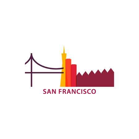 USA San Francisco city landscape skyline panorama silhouette shape vector logo banner