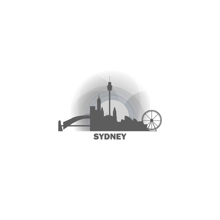 Australia Sydney black white sunrise sunset city panorama landscape horizon buildings skyline flat icon logo