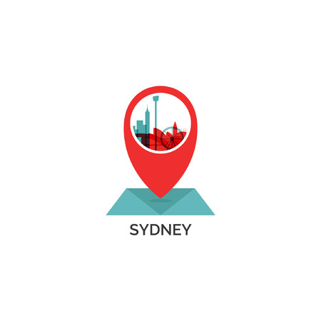 Australia Sydney map city pin point geolocation modern skyline shape pointer vector flat logo web icon illustration