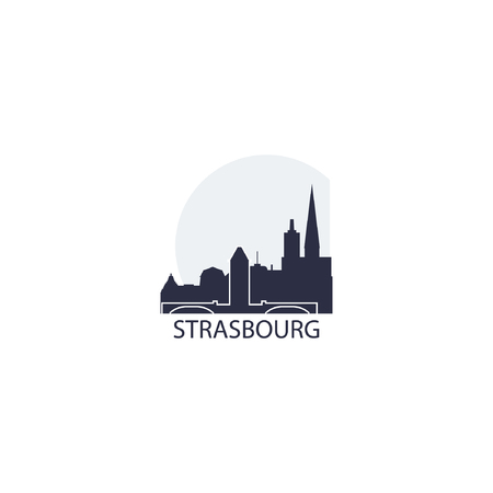 France Strasbourg city landscape modern panorama silhouette skyline vector logo icon