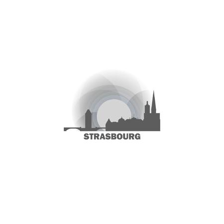 France Strasbourg black white sunrise sunset city panorama landscape horizon buildings skyline flat icon logo