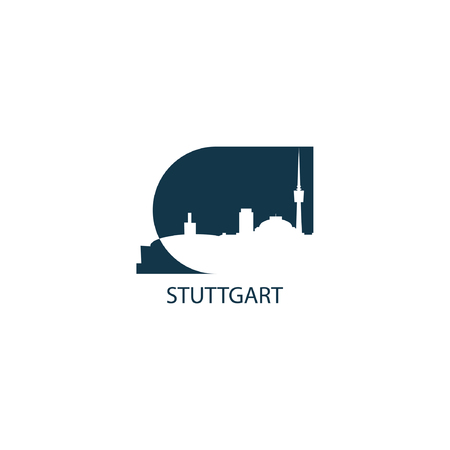 Germany Stuttgart city landscape modern panorama silhouette skyline vector logo icon