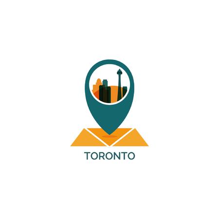 Canada Toronto map city pin point geolocation modern skyline shape pointer vector flat logo web icon illustration