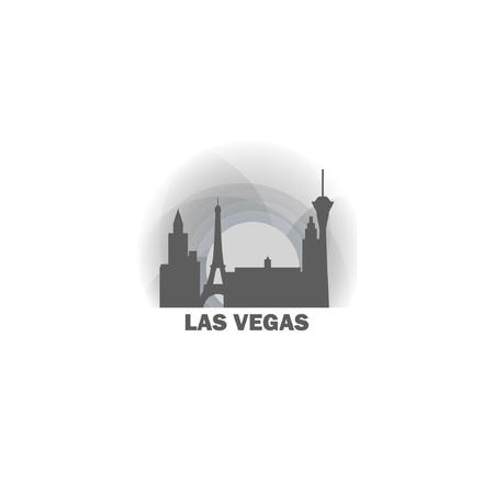 USA United States of America Las Vegas Nevada black white sunrise sunset city panorama landscape horizon buildings skyline flat icon