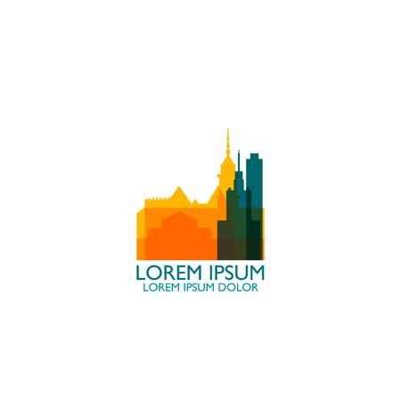 Poland Warsaw modern cool panorama silhouette skyline vector logo icon