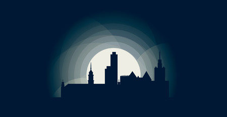 Poland Warsaw blue night moon sunset city panorama landscape horizon buildings skyline flat icon
