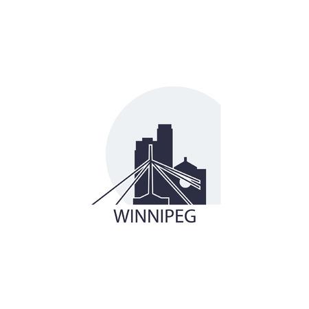 Canada Winnipeg city landscape skyline panorama silhouette shape vector logo flat icon