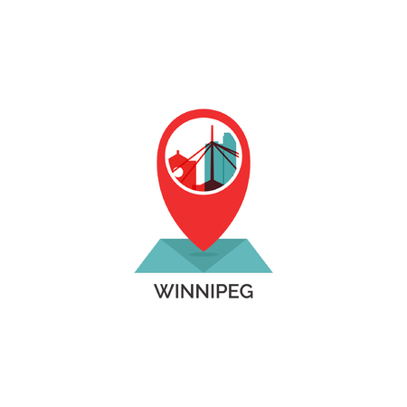 Canada Winnipeg map city pin point geolocation modern skyline shape pointer vector flat logo web icon illustration Illustration