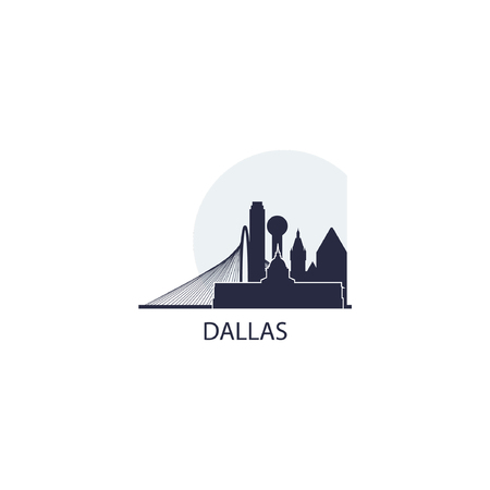 United States of America USA Dallas city skyline landscape silhouette flat vector logo icon. Cool urban horizon illustration concept