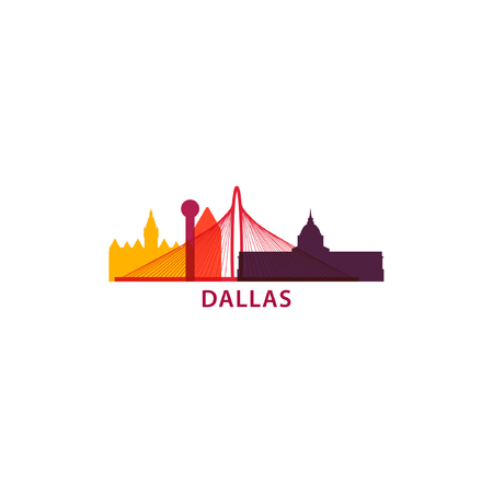 Dallas city skyline landscape silhouette flat vector icon. Illusztráció