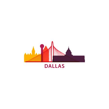 Dallas city skyline landscape silhouette flat vector icon. Illustration