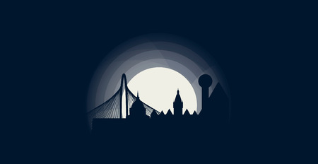United States of America USA Dallas city skyline landscape silhouette flat vector logo icon. Cool urban night horizon illustration concept Иллюстрация