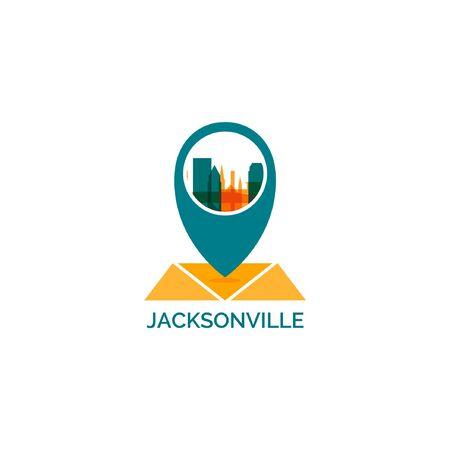Illustration of a Jacksonville city skyline landscape silhouette vector icon.
