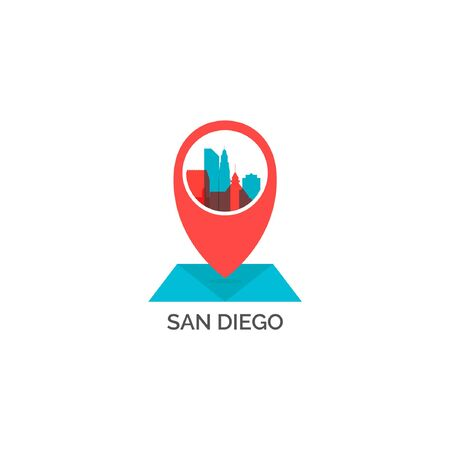 USA United States of America San Diego city skyline landscape silhouette vector logo icon. Cool urban map pin point geolocation horizon illustration concept