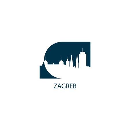 Zagreb city skyline landscape silhouette vector icon. 矢量图像