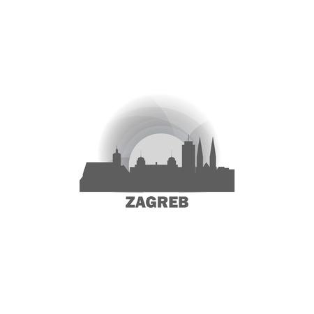 Zagreb city skyline landscape silhouette vector icon.  イラスト・ベクター素材