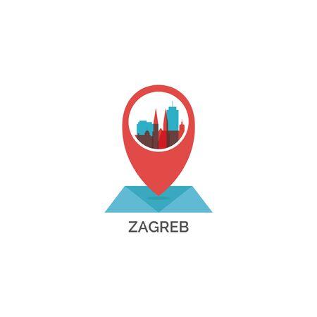 Croatia Zagreb city skyline landscape silhouette vector logo icon. Cool urban map pin point geolocation horizon illustration concept