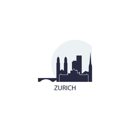 Zurich city skyline landscape silhouette vector icon.
