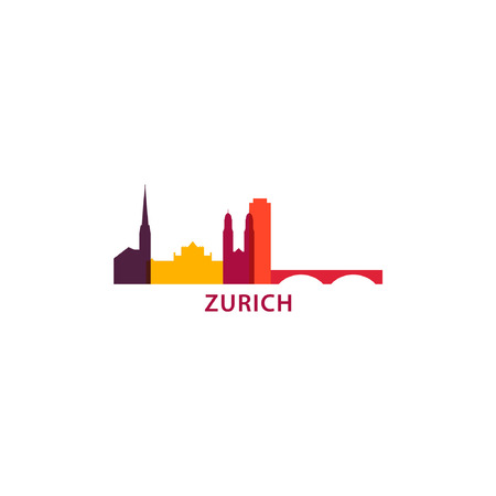 Switzerland Zurich city skyline landscape silhouette vector logo icon. Cool urban horizon illustration concept