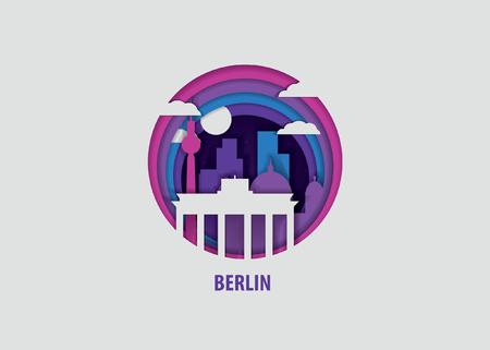Creatief papier gesneden laag ambachtelijke Berlijn vectorillustratie. Origami-stijl stad skyline reizen kunst in diepgaande illusie
