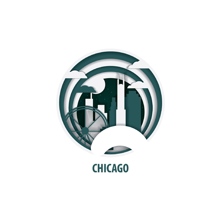 Creative paper cut layer craft Chicago vector illustration. Origami style city skyline travel art in depth illusion