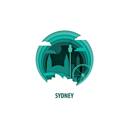 Creative paper cut layer craft Sydney vector illustration. Origami style city skyline travel art in depth illusion Stock Illustratie