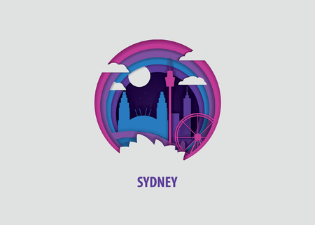 Creative paper cut layer craft Sydney vector illustration. Origami style city skyline travel art in depth illusion Illustration