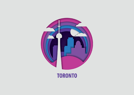 Creative paper cut layer craft Toronto vector illustration. Origami style city skyline travel art in depth illusion