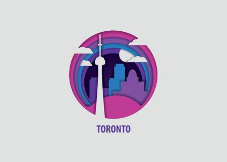 Creative paper cut layer craft Toronto vector illustration. Origami style city skyline travel art in depth illusion