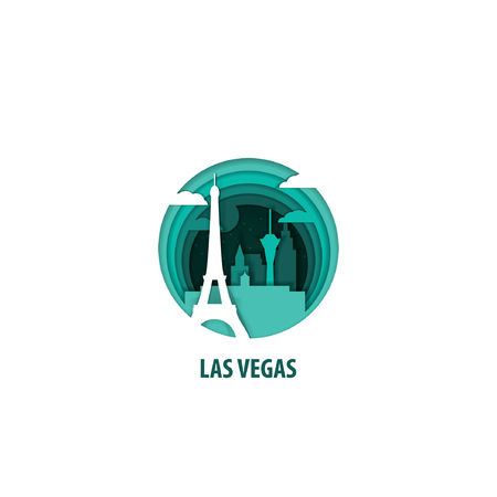 Creative paper cut layer craft Las Vegas vector illustration. Origami style city skyline travel art in depth illusion