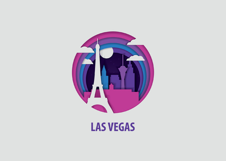 Creative paper cut layer craft Las Vegas vector illustration. Origami style city skyline travel art in depth illusion
