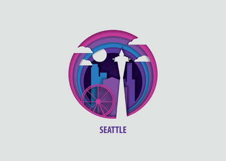 Creative paper cut layer craft Seattle vector illustration. Origami style city skyline travel art in depth illusion