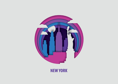 Creative paper cut layer craft New York vector illustration. Origami style city skyline travel art in depth illusion Çizim
