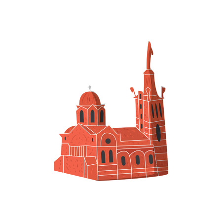 Church cathderal famous city monument isolated vector illustration. Hand drawn sketch art