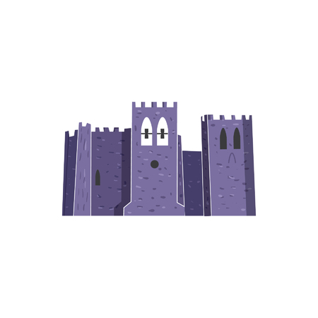 Fort Abbey famous city french monument isolated vector illustration. Hand drawn sketch art