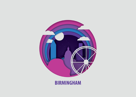 Creative paper cut layer craft Birmingham vector illustration. Origami style city skyline travel art in depth illusion