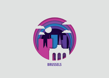 Creative paper cut layer craft Brussels vector illustration. Origami style city skyline travel art in depth illusion Vectores