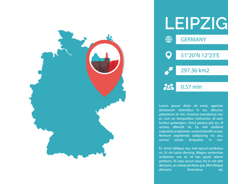 Leipzig map shape vector infographics template. Modern city data statistic isolated illustration