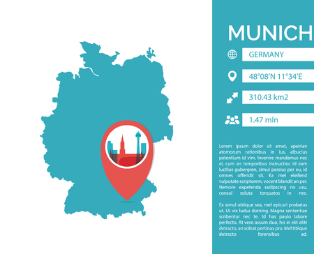 Munich map shape vector infographics template. Modern city data statistic isolated illustration