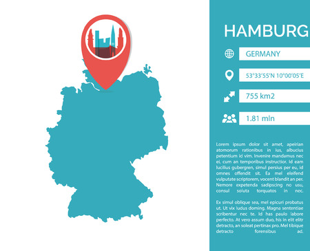 Hamburg map shape vector infographics template. Modern city data statistic isolated illustration